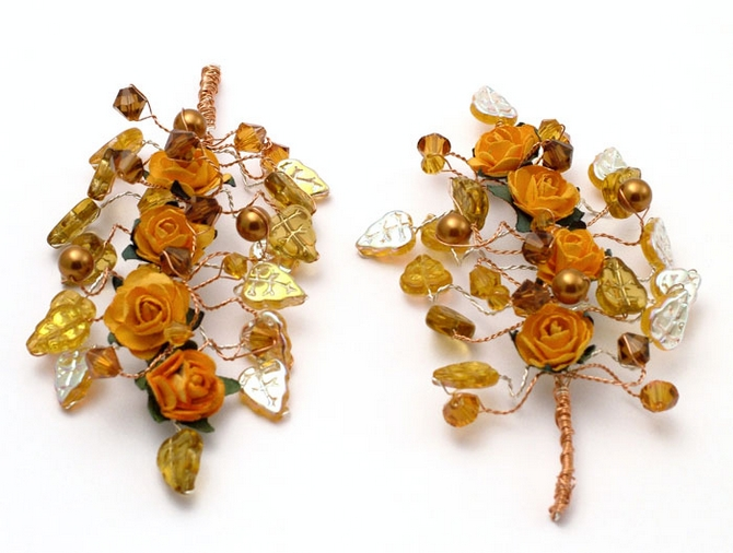 Ladies orange rose medieval wedding corsage with topaz pearls, crystals and leaves.