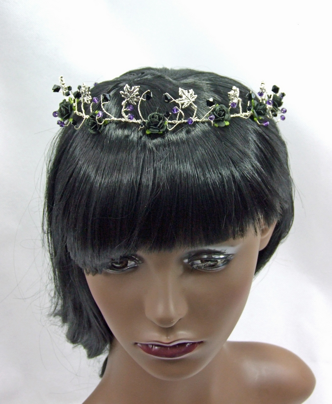 Black and Purple Crystal Gothic Hair Vine