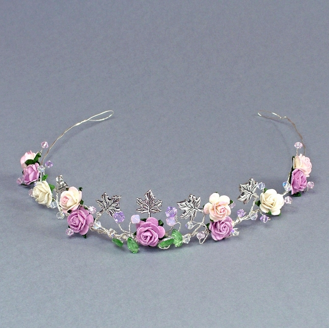Lilac, pink and ivory rose tiara on silver wire with leaves