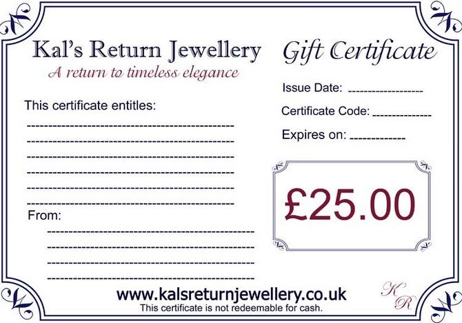 Jewellery Gift Voucher GBP25.00
