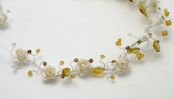 White diamante flower and rose wedding hair vine with topaz Swarovski crystals, yellow and gold leaves and freshwater pearls.